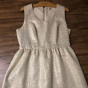 Fit and flare dress with gold foil leaf pattern
